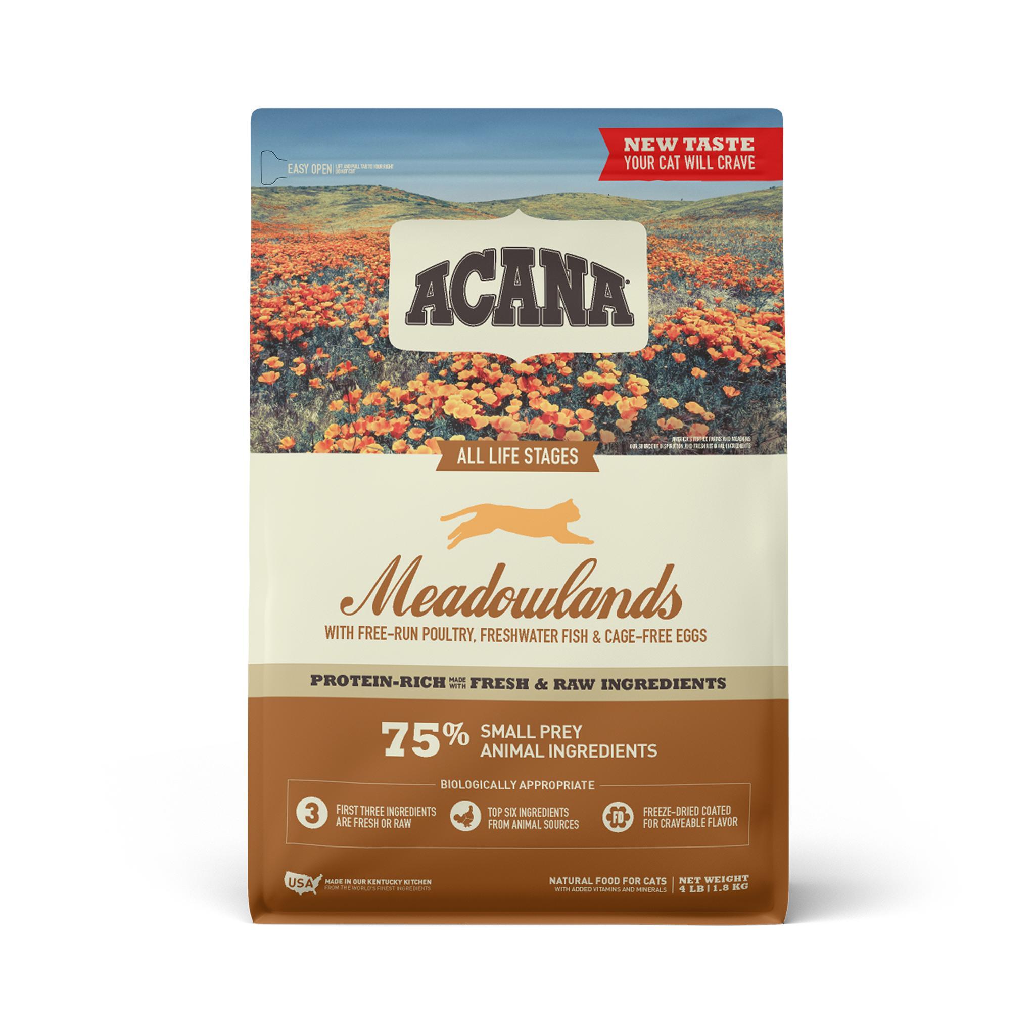 ACANA Meadowlands Grain-Free Dry Cat Food, 4-lb bag