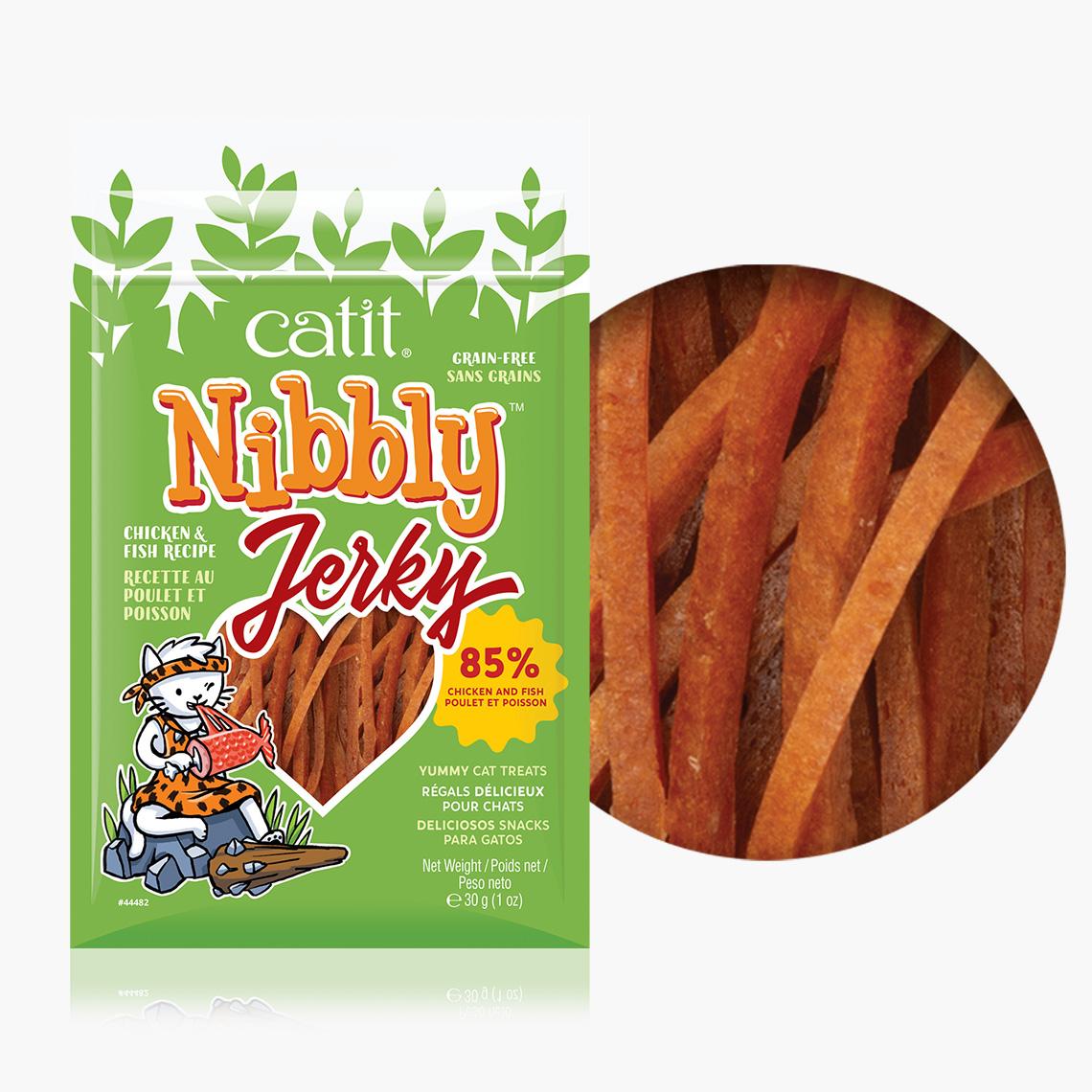Catit Nibbly Jerky Chicken & Fish Recipe Dog Treats, 1.5-oz