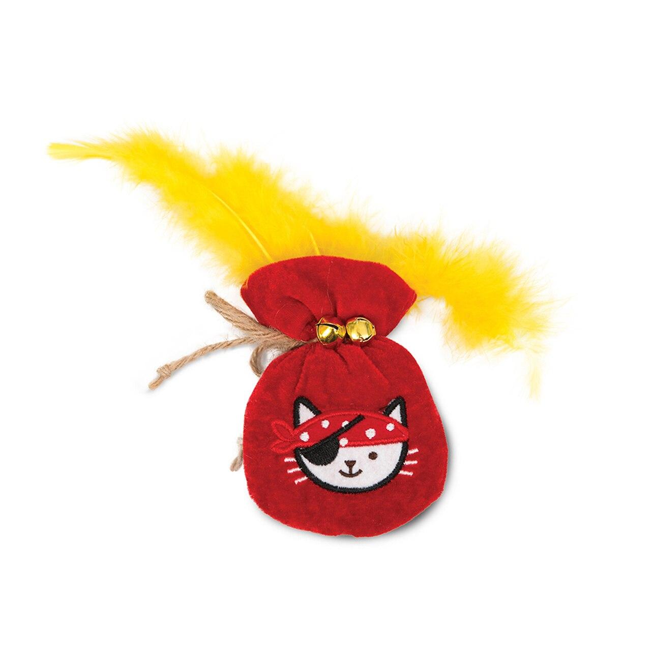Catit Play Pirates Gold Pouch Catnip Plush Cat Toy