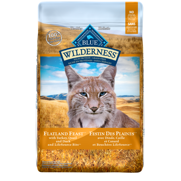 Blue Buffalo Wilderness Flatland Feast with Turkey, Quail & Duck Adult Dry Cat Food, 10-lb