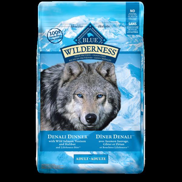 Blue Buffalo Wilderness Denali Dinner with Wild Salmon, Venison & Halibut Adult Dry Dog Food, 22-lb