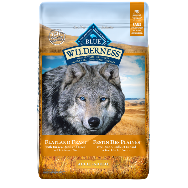 Blue Buffalo Wilderness Flatland Feast with Turkey, Quail & Duck Adult Dry Dog Food, 22-lb