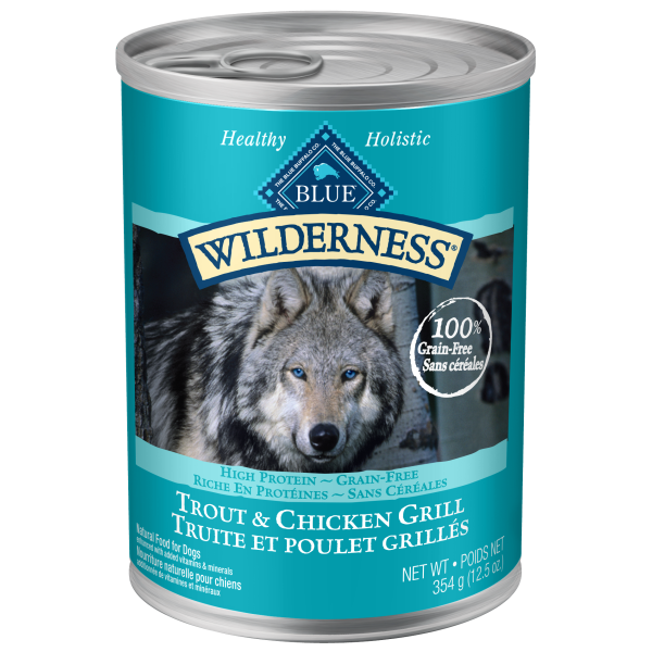 Blue Buffalo Wilderness Trout & Chicken Grill Grain-Free Adult Wet Dog Food, 12.5-oz