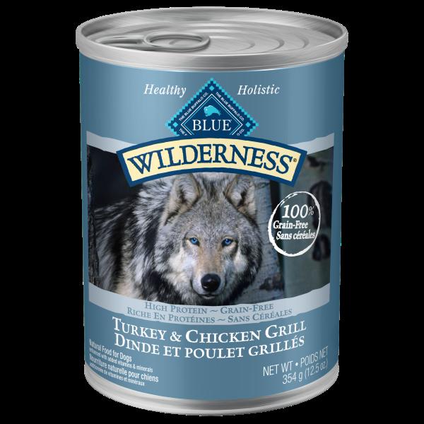 Blue Buffalo Wilderness Turkey & Chicken Grill Grain-Free Adult Wet Dog Food, 12.5-oz