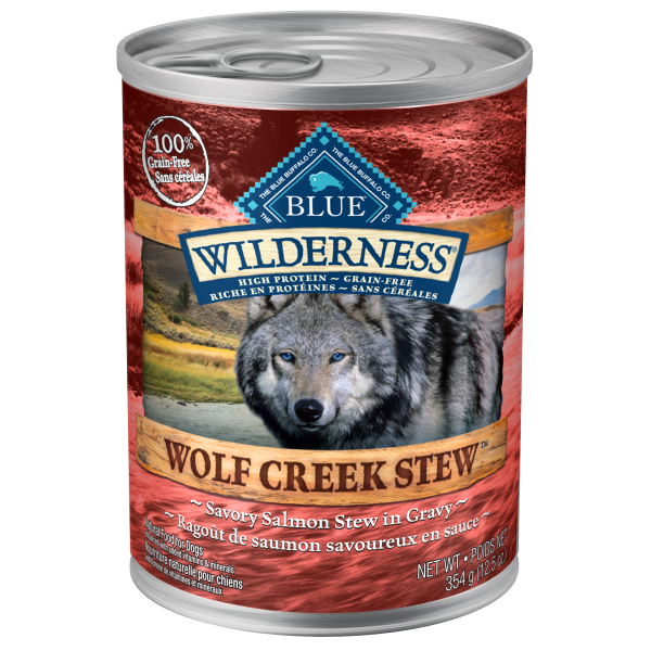 Blue Buffalo Wilderness Wolf Creek Savory Salmon Stew Adult Wet Dog Food, 12.5-oz