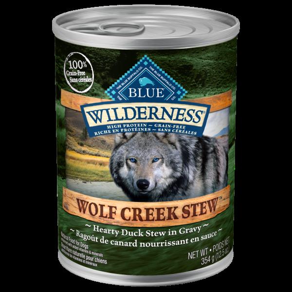 Blue Buffalo Wilderness Wolf Creek Hearty Duck Stew Adult Wet Dog Food, 12.5-oz