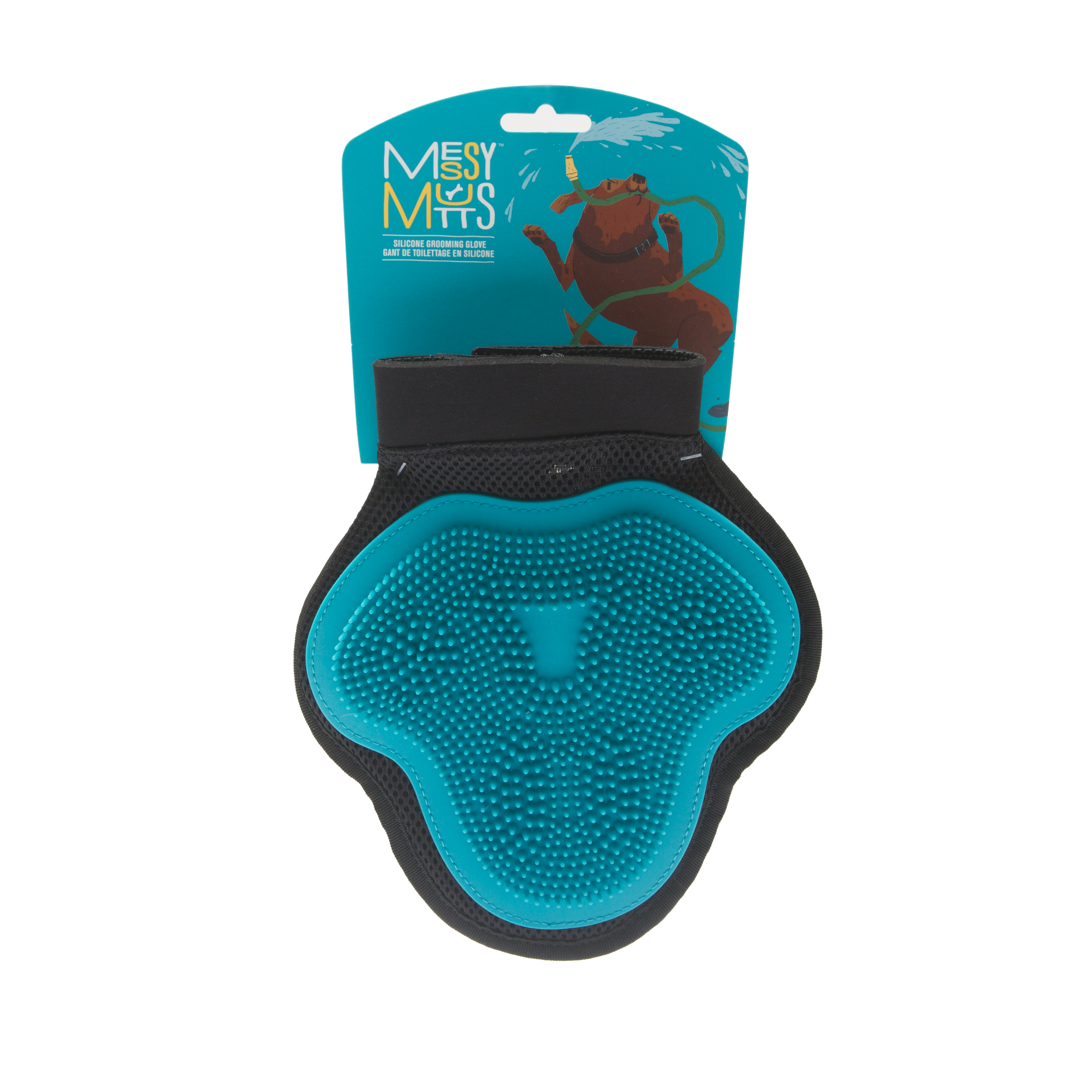 Messy Mutts Silicone Grooming Glove, Blue Image