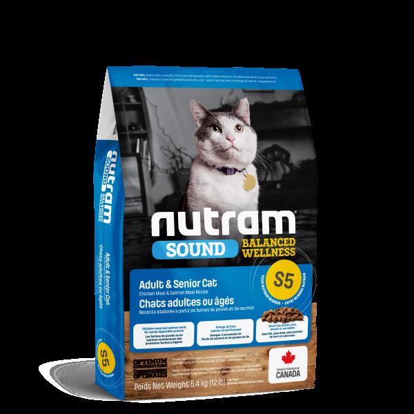 Nutram Sound S5 Balanced Wellness Chicken & Salmon Adult Senior Dry Cat Food, 5.4-kg