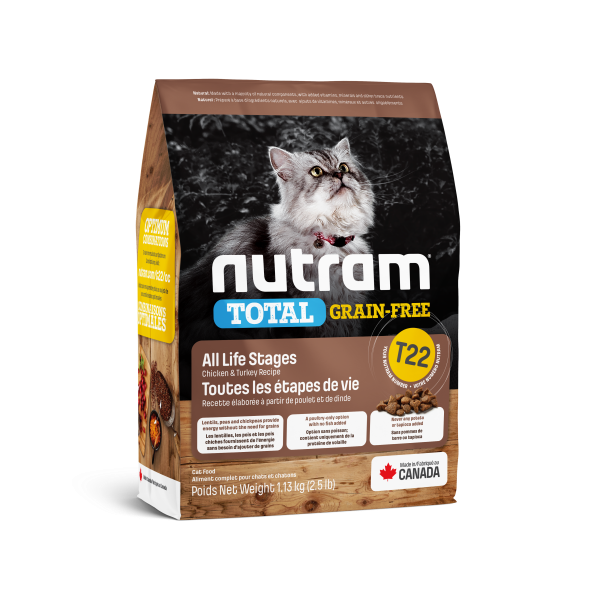 Nutram Total T22 Chicken & Turkey Grain-Free All Life Stages Dry Cat Food, 1.13-kg