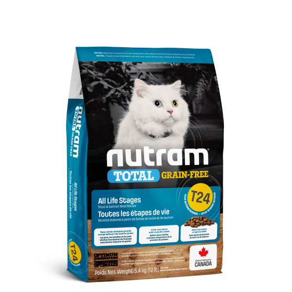Nutram Total T24 Trout & Salmon Grain-Free All Life Stages Dry Cat Food, 5.4-kg