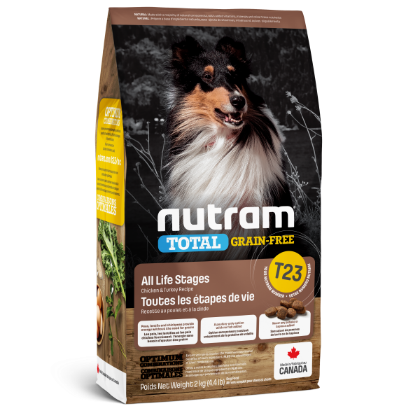 Nutram Total T23 Chicken & Turkey Grain-Free All Life Stages Dry Dog Food, 2-kg