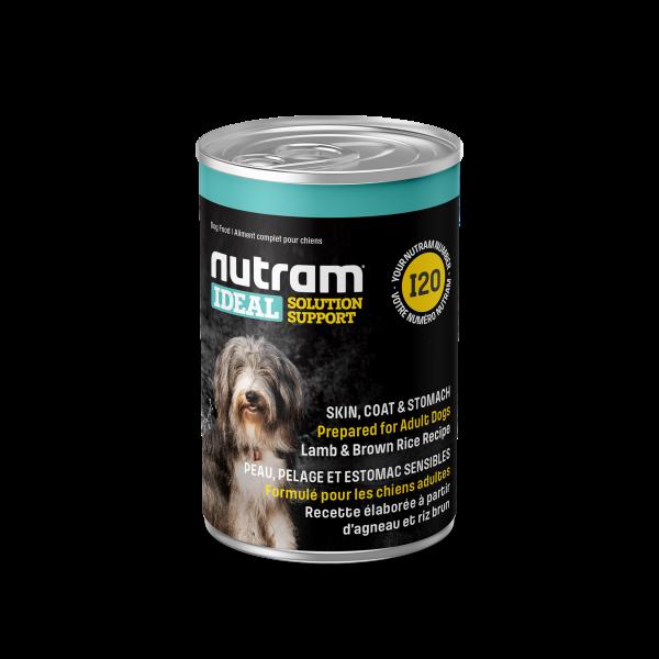 Nutram Ideal I20 Solution Skin, Coat & Stomach Lamb & Brown Rice Wet Dog Food, 369-gram