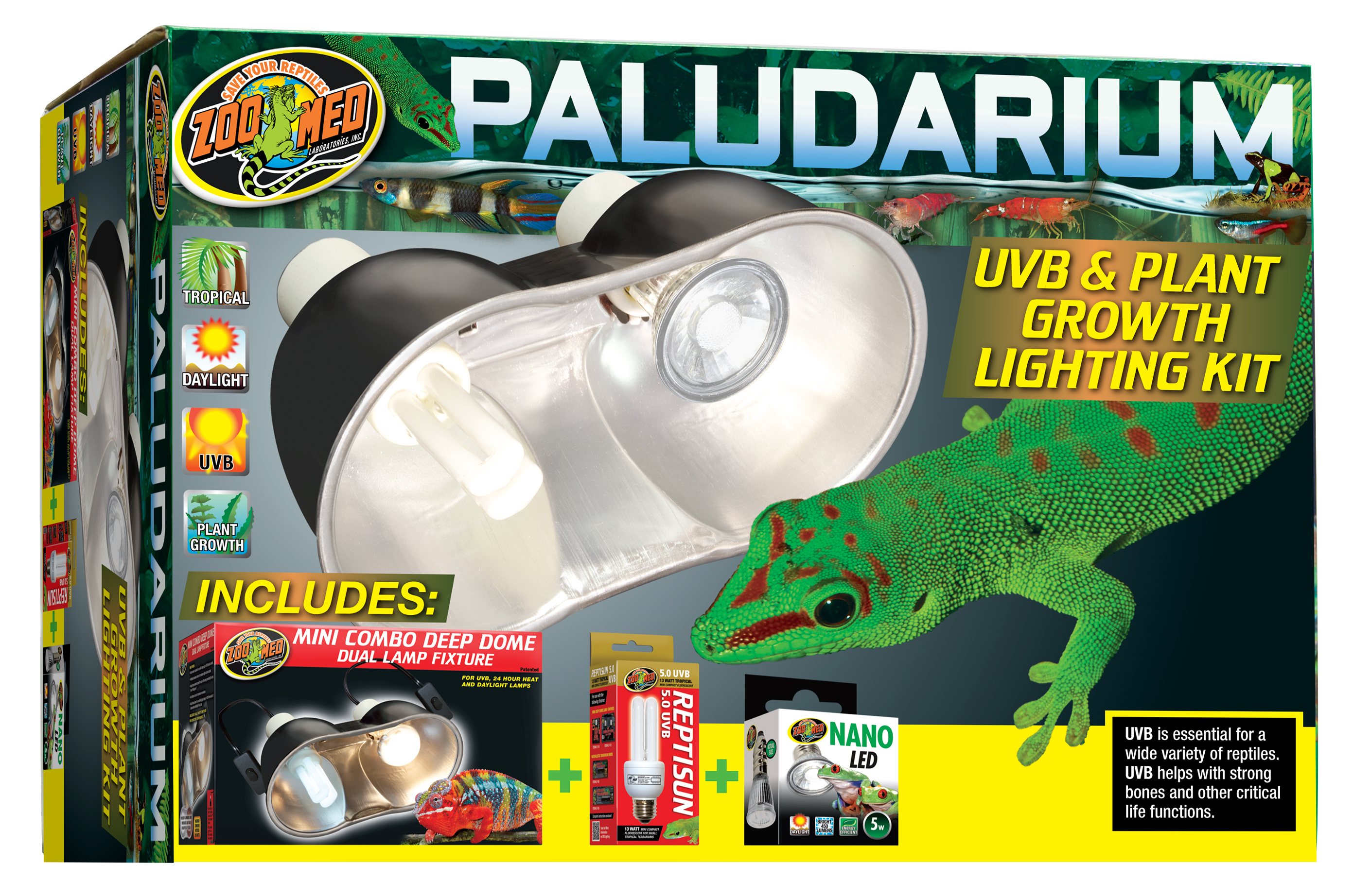 Zoo Med Paludarium UVB & Plant Growth Lighting Kit for Reptiles