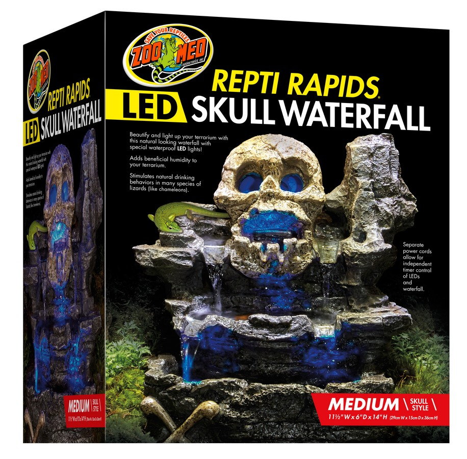 Zoo Med Repti Rapids LED Skull Waterfall for Terrariums, Medium