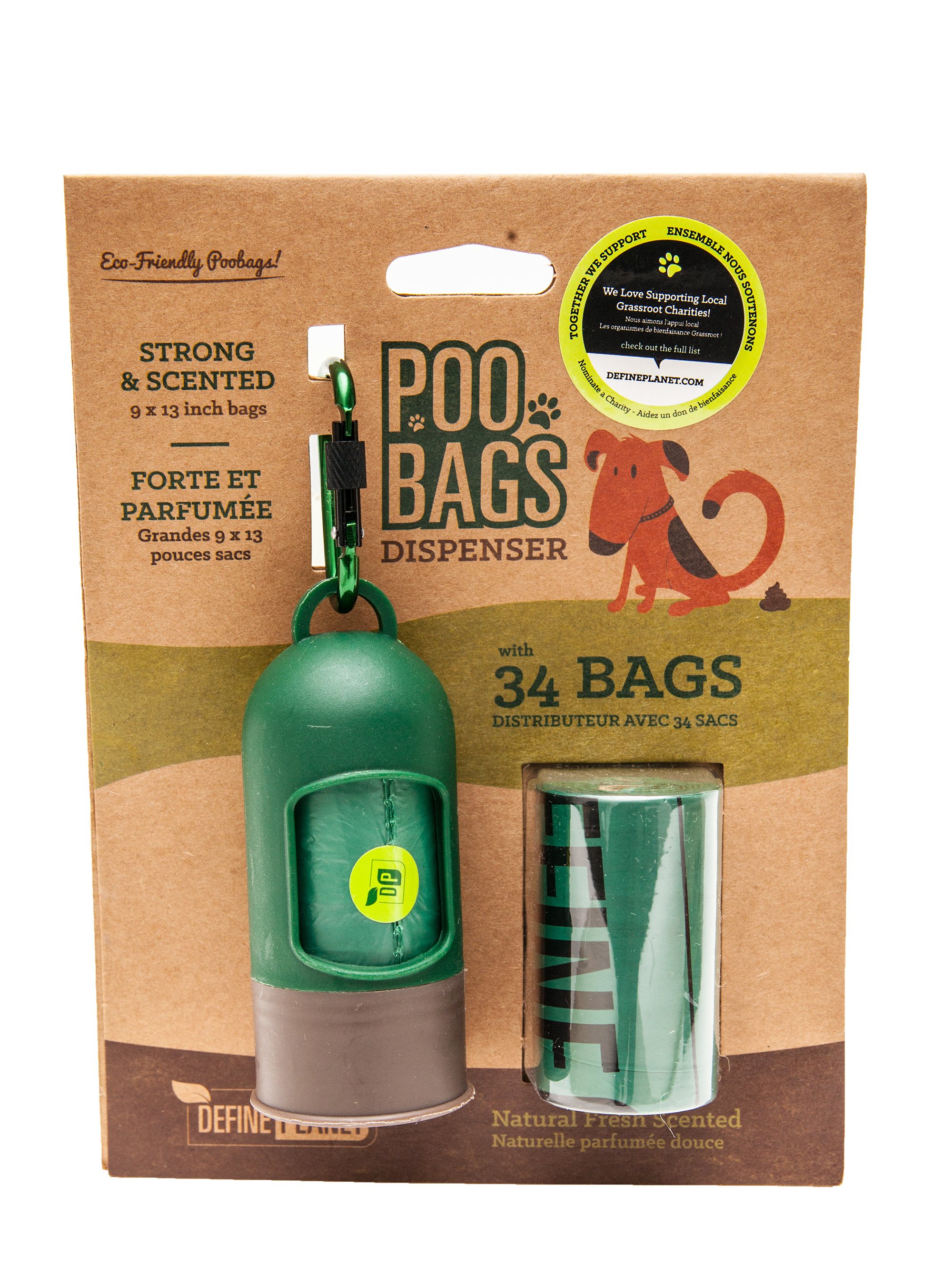 Define Planet Poo Bags Dispenser with 2 Rolls for Dogs