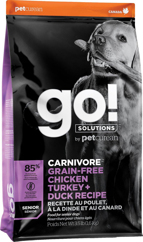 Go! Solutions Carnivore Grain-Free Chicken Turkey + Duck Recipe Senior Dry Dog Food, 3.5-lb