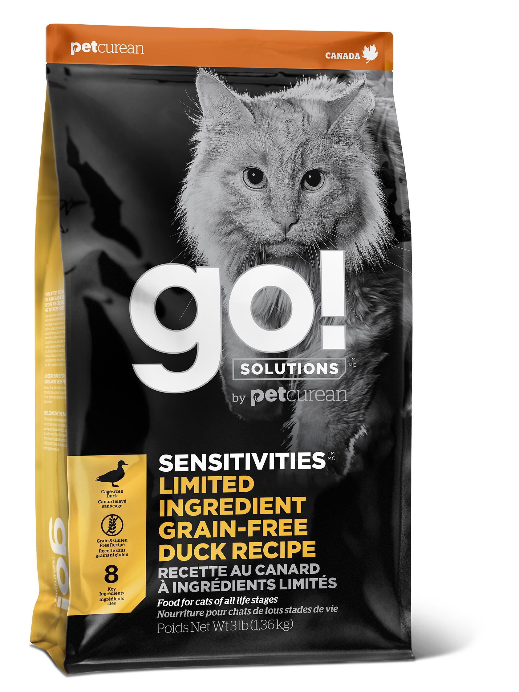 Go! Solutions Sensitivities Limited Ingredient Grain-Free Duck Dry Cat Food, 8-lb