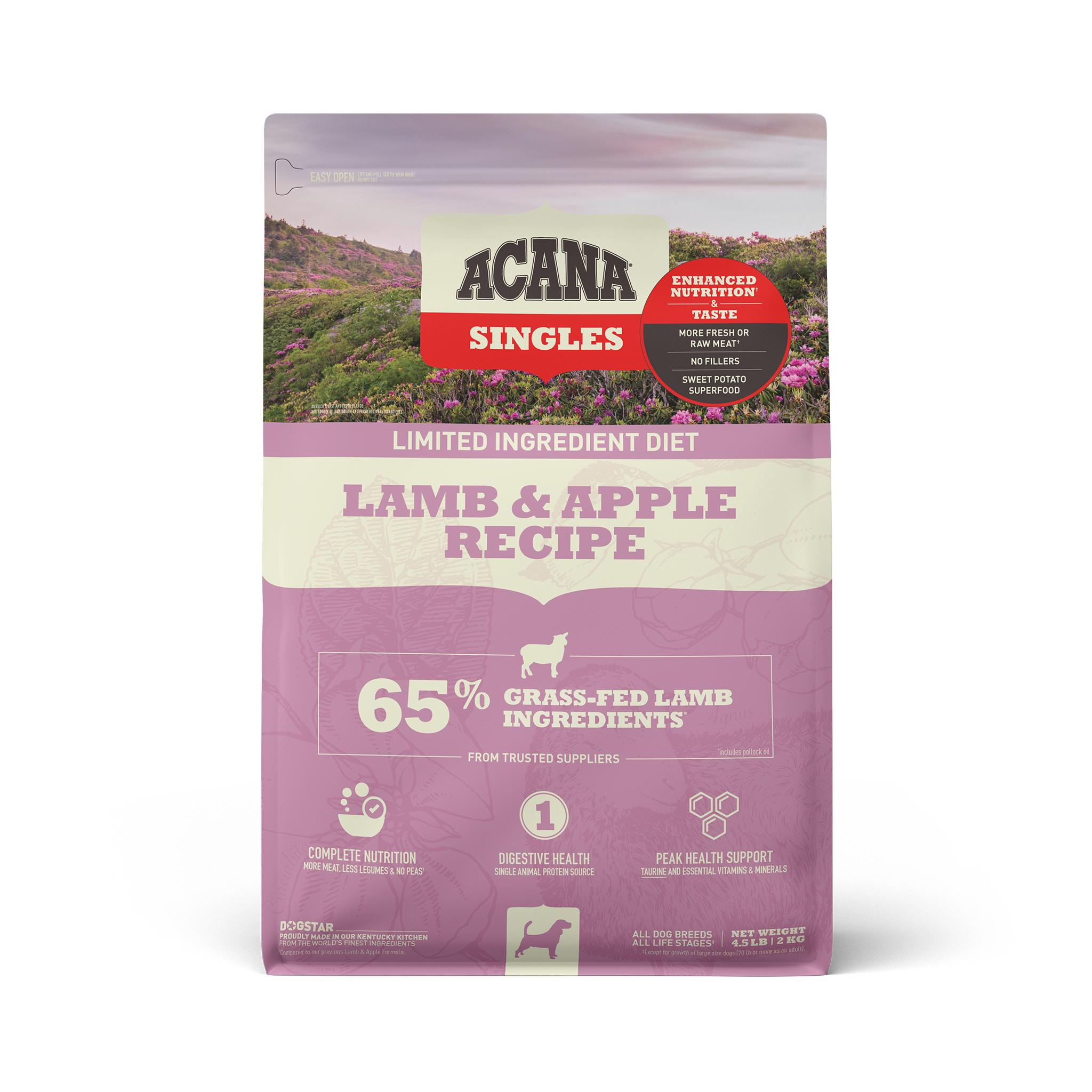 ACANA Singles Limited Ingredient Lamb & Apple Grain-Free Dry Dog Food, 4.5-lb bag