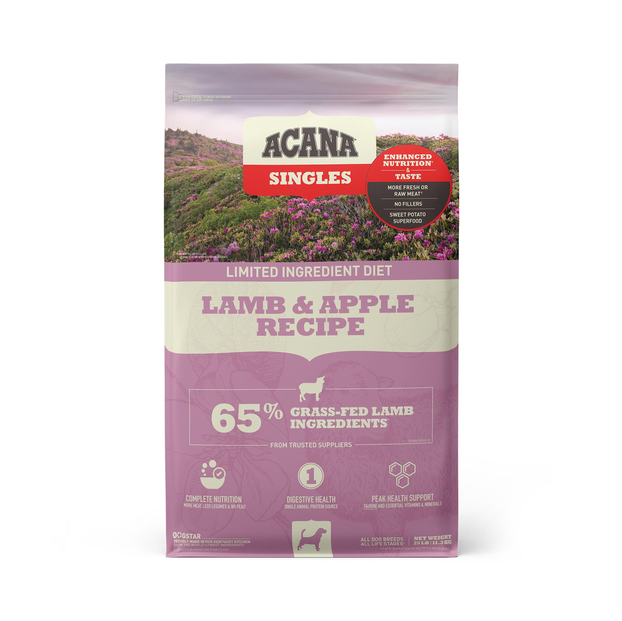 ACANA Singles Limited Ingredient Lamb & Apple Grain-Free Dry Dog Food, 25-lb bag