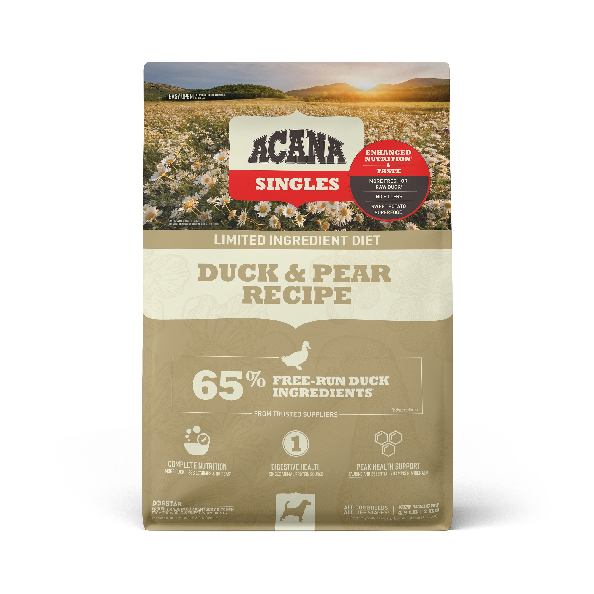 ACANA Singles Limited Ingredient Duck & Pear Grain-Free Dry Dog Food, 4.5-lb bag