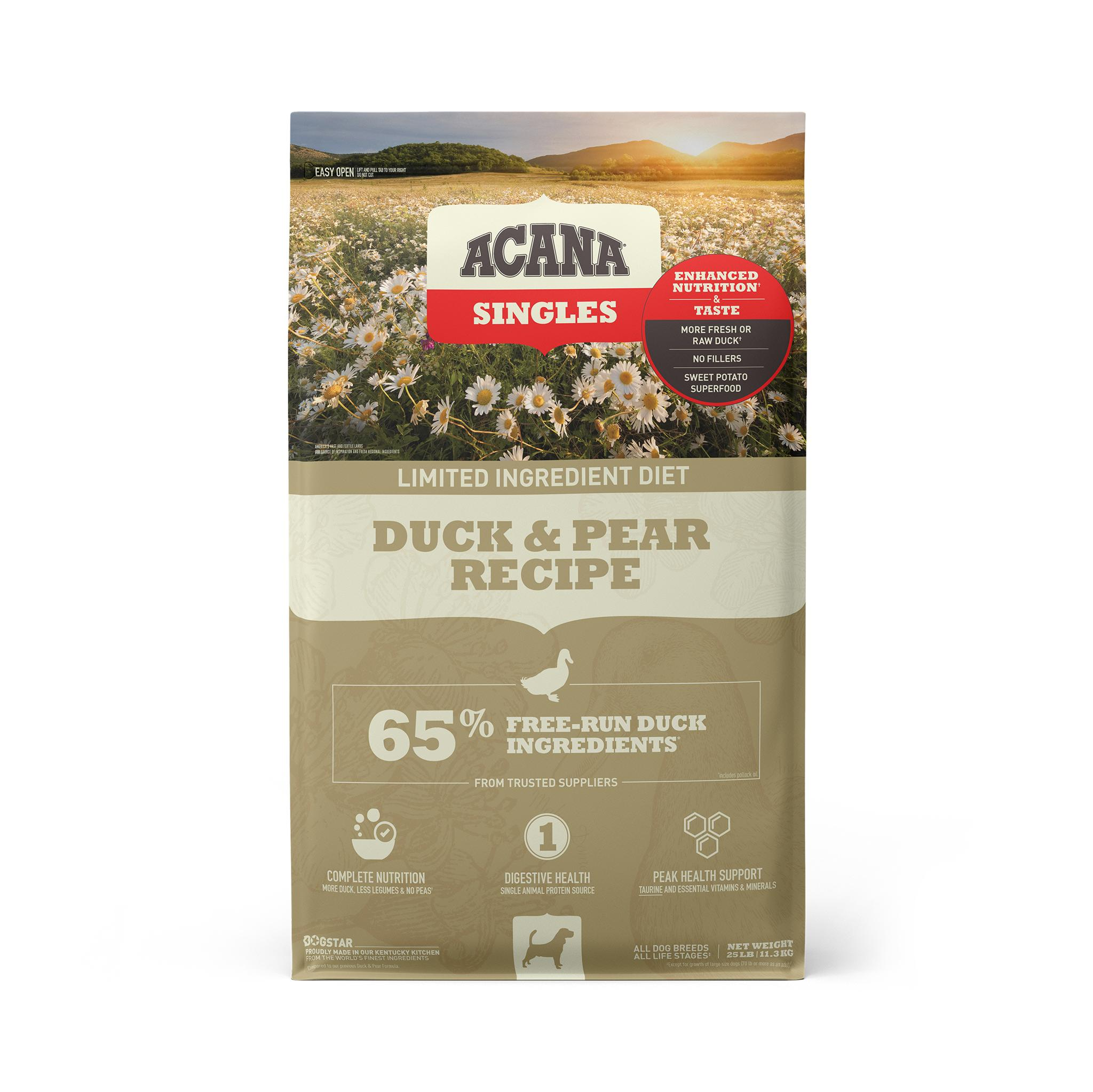 ACANA Singles Limited Ingredient Duck & Pear Grain-Free Dry Dog Food, 25-lb bag