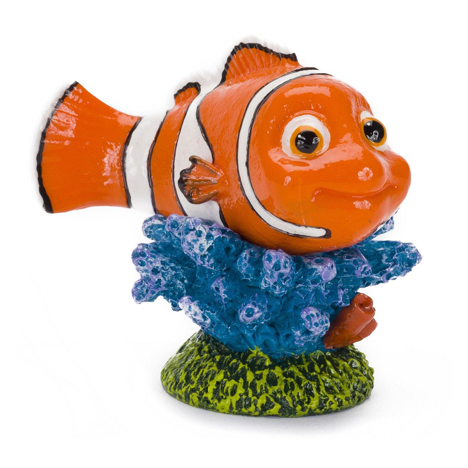 Penn-Plax Finding Nemo on Coral Aquarium Ornament, Mini
