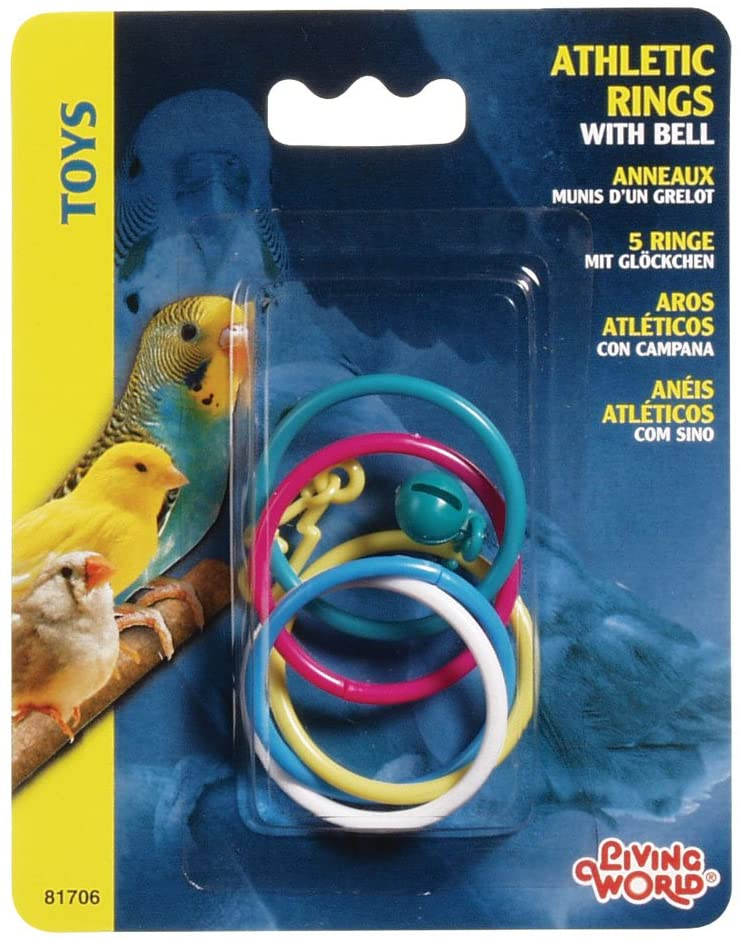 Living World Classic Athletic Rings with Bell Bird Toy, 5-pk