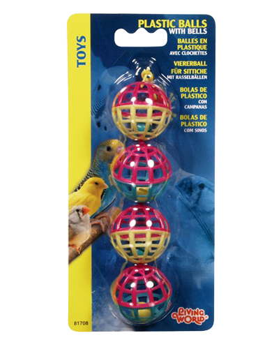 Living World Classic Plastic Balls with Bells Bird Toy, 4-pk