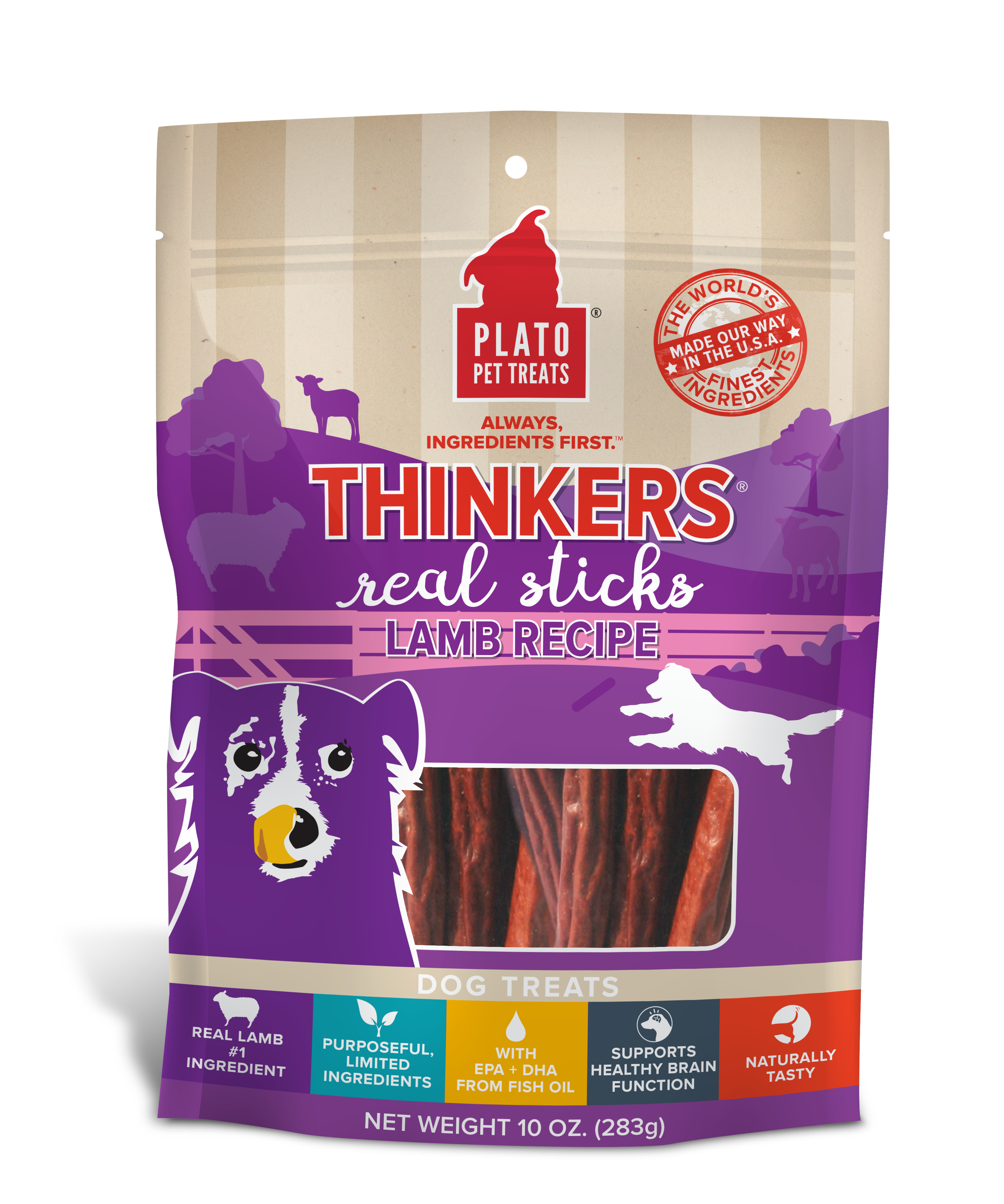 Plato Thinkers Lamb Recipe Dog Treats, 18-oz bag