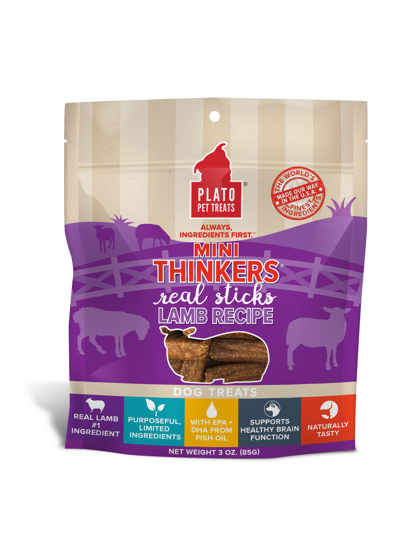 Plato Mini Thinkers Lamb Meat Stick Dog Treats, 3-oz