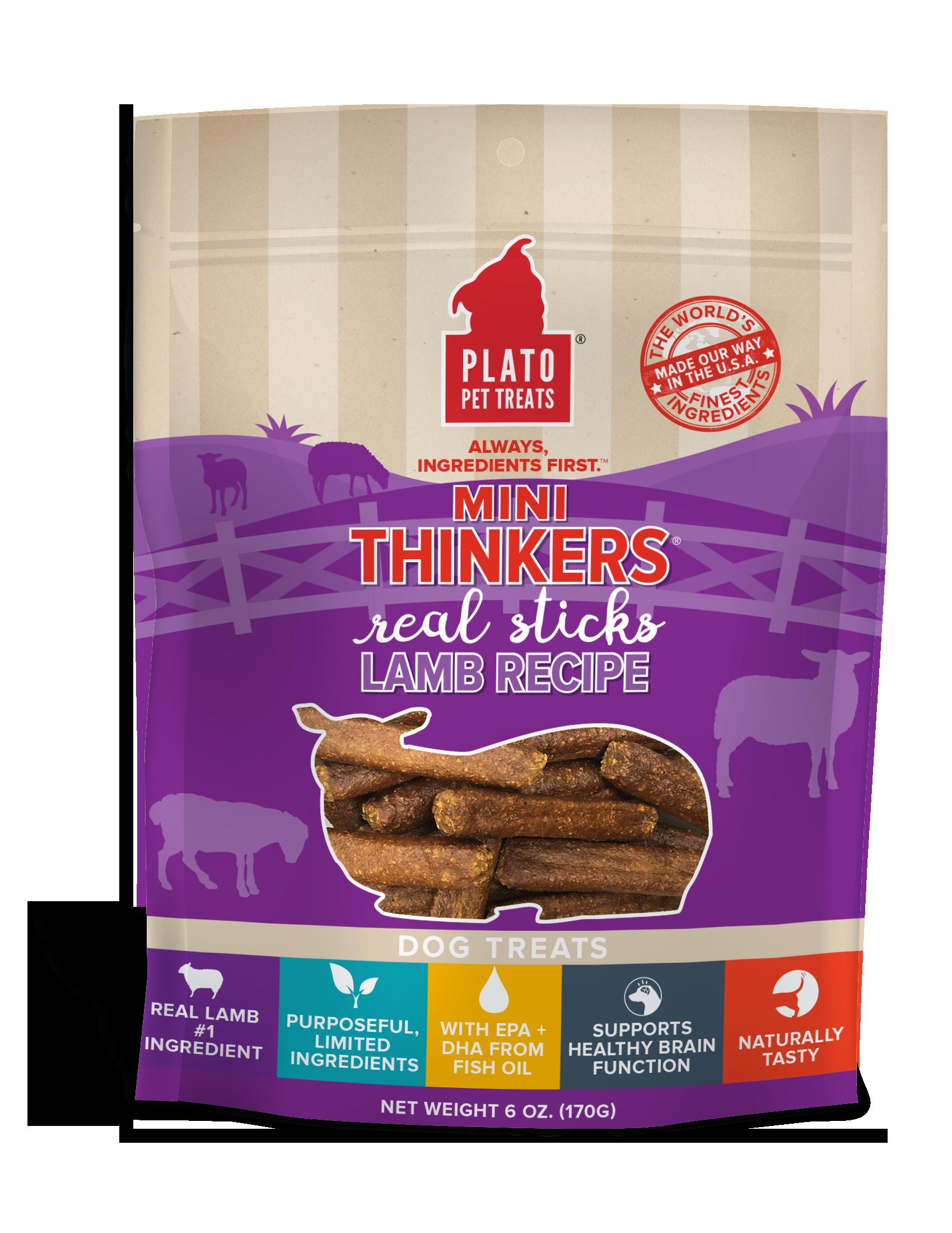 Plato Mini Thinkers Lamb Meat Stick Dog Treats, 6-oz