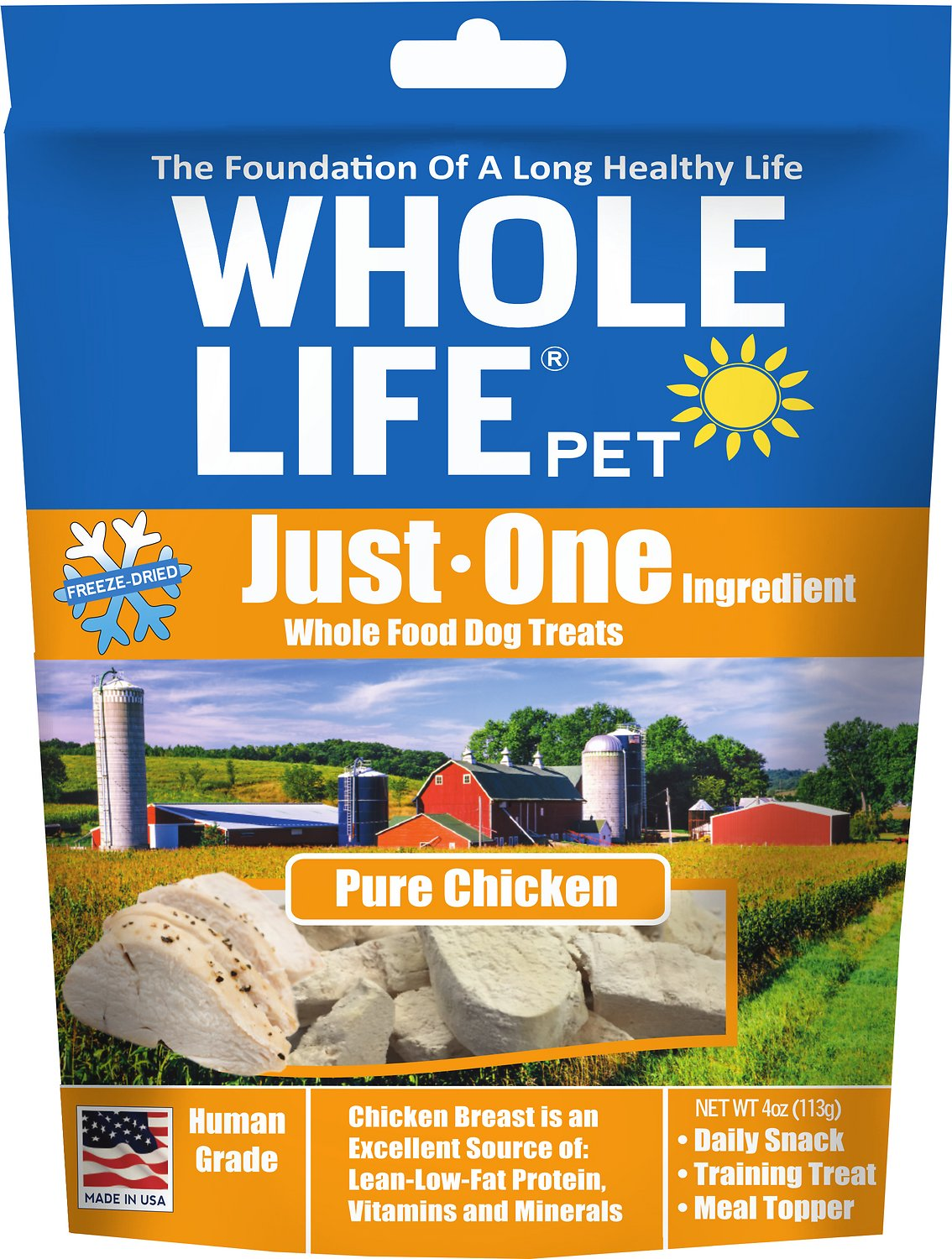 Whole Life Just One Ingredient Pure Chicken Breast Freeze-Dried Dog Treats, 4-oz bag (Weights: 4ounces) Image