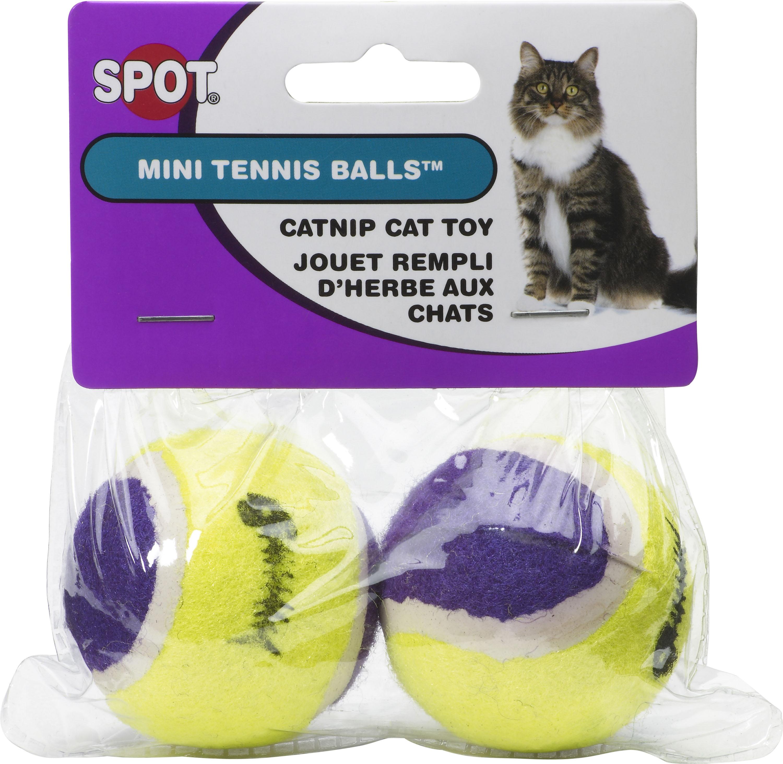 Ethical Pet Spot Mini Tennis Ball Catnip Cat Toy, 2-pk