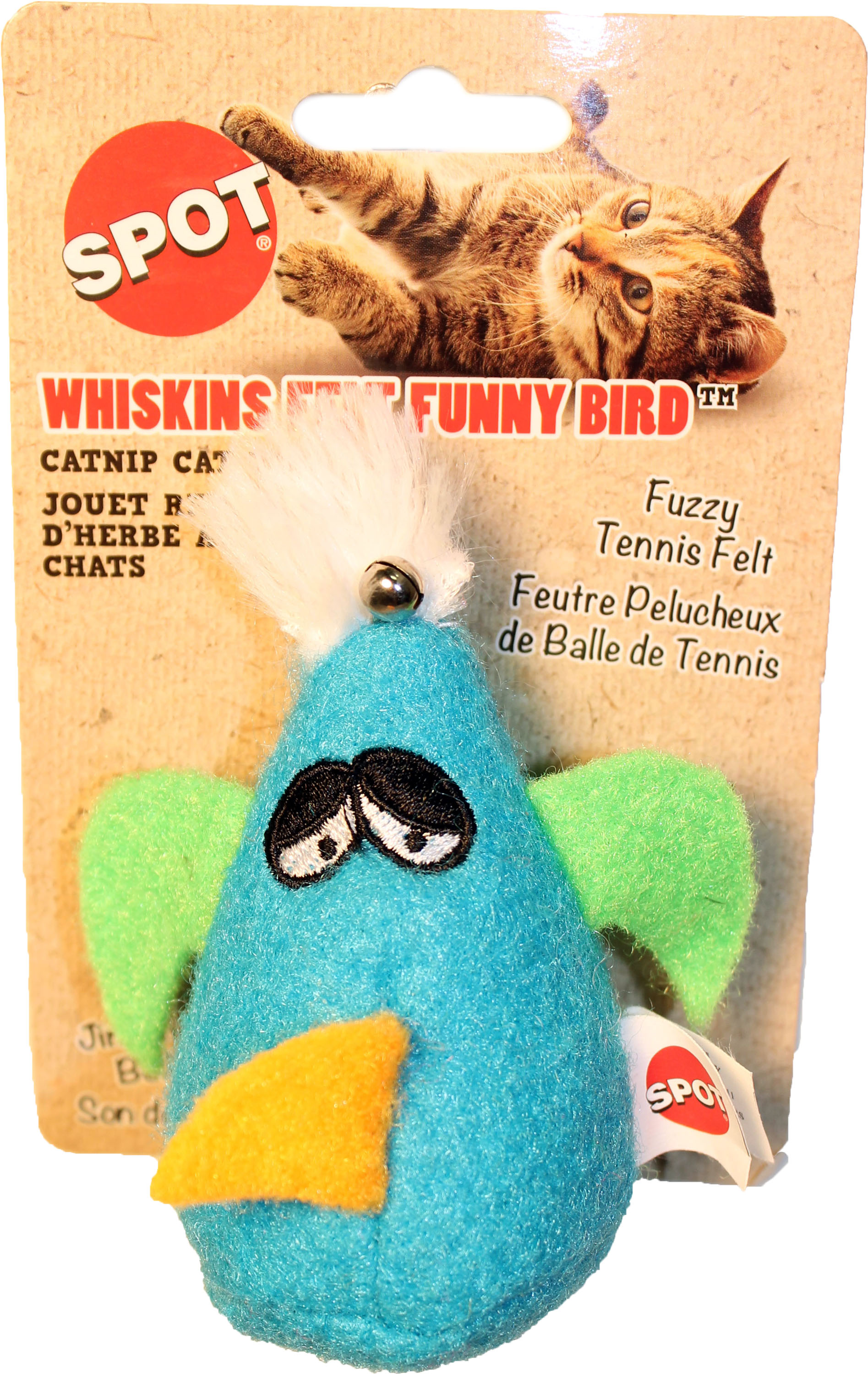 Ethical Pet Spot Whiskins Felt Funnybird Catnip Cat Toy, Color Varies