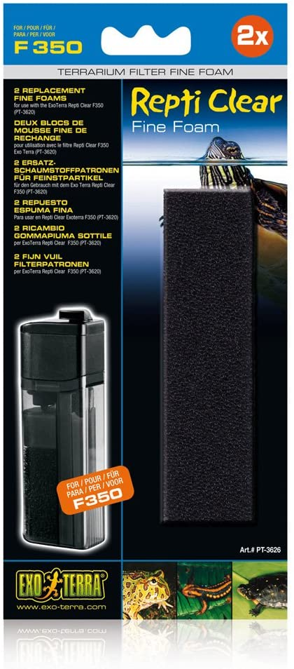 Exo Terra Repti-Clear 350 Fine Foam Filter Media for Terrariums, 2-pk