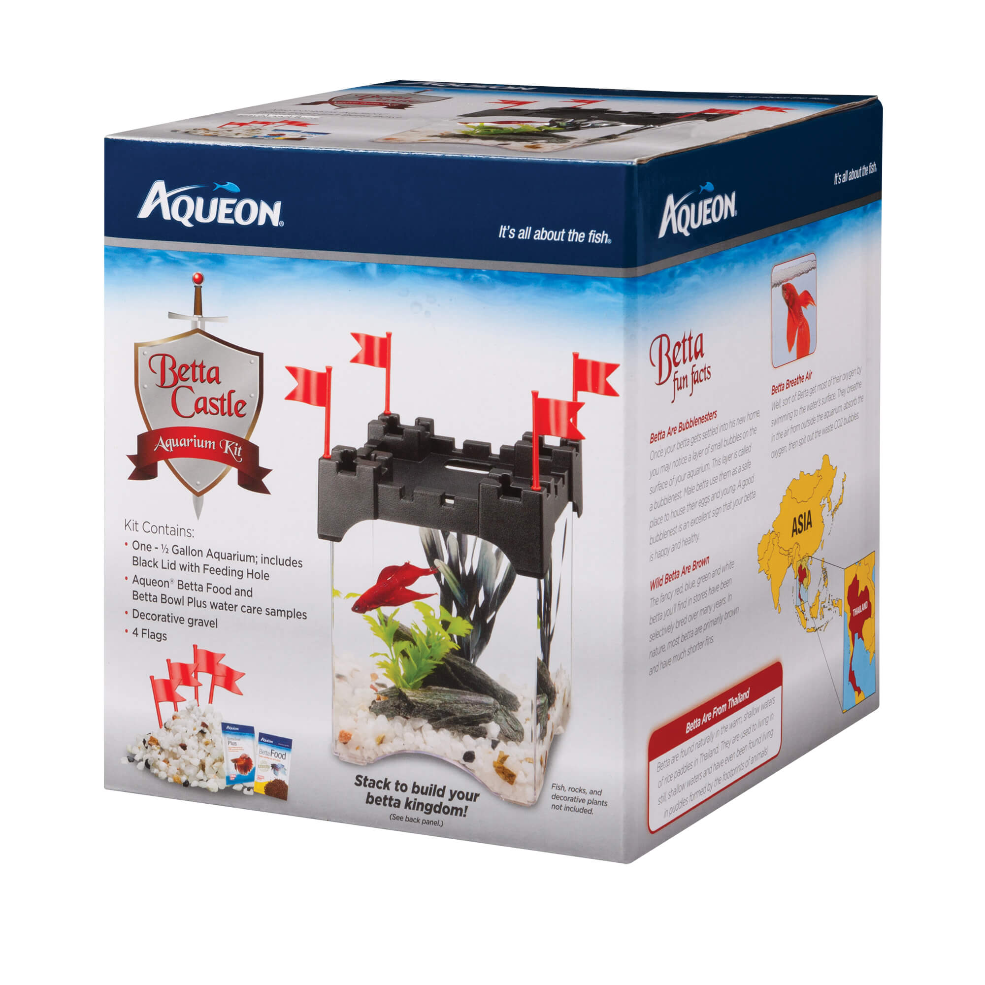 Aqueon Betta Castle Aquarium Kit, Black, 0.5-gallon