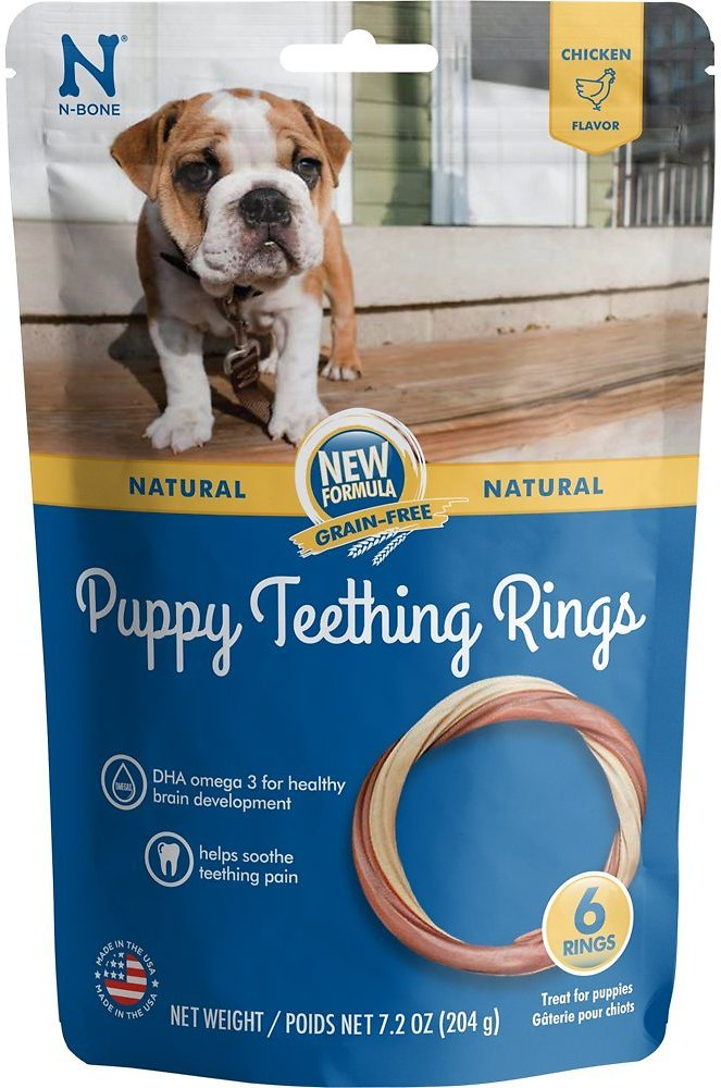 N-Bone Grain-Free Puppy Teething Ring Chicken Flavor Dog Treats, 6-count