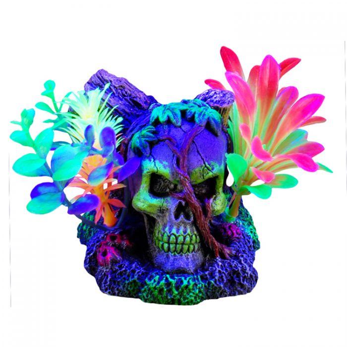 Marina iGlo Skull with Vines & Plants Aquarium Ornament, 4.5-in