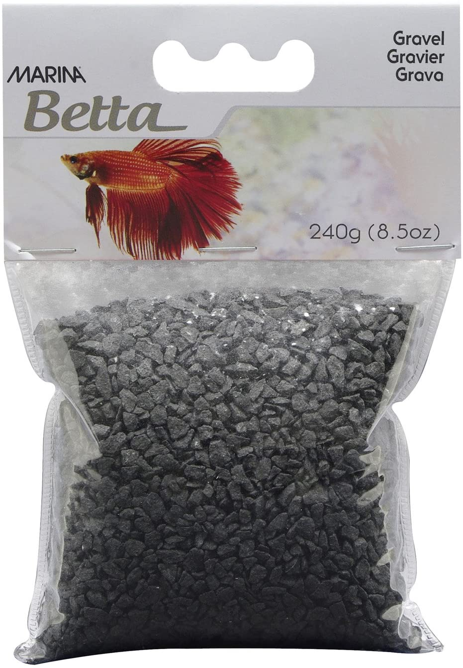 Marina Betta Gravel Aquarium Decoration, Black, 8.5-oz