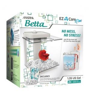 Marina Betta EZ Care Plus Aquarium Kit, White, 1.35-gal
