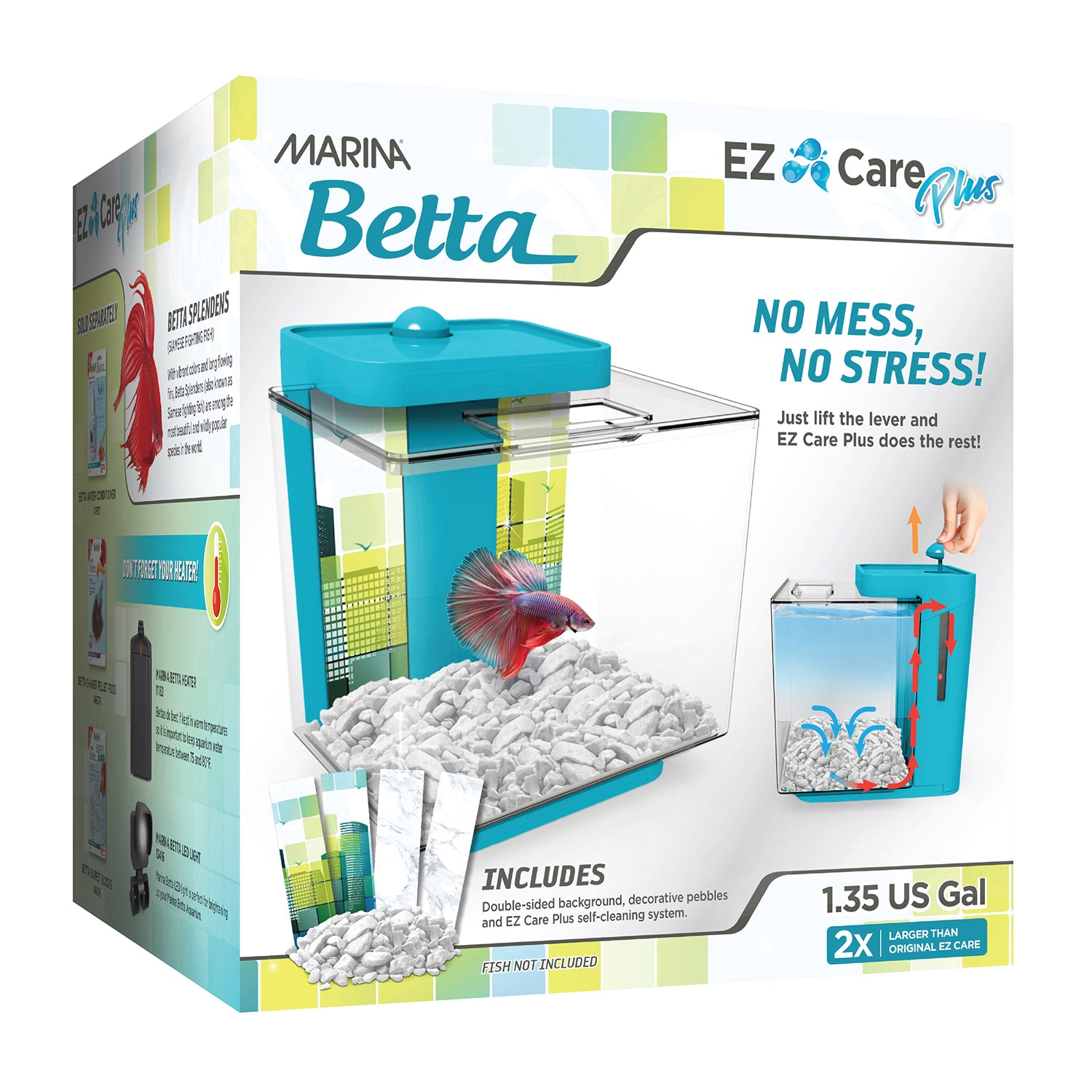 Marina Betta EZ Care Plus Aquarium Kit, Blue, 1.35-gal