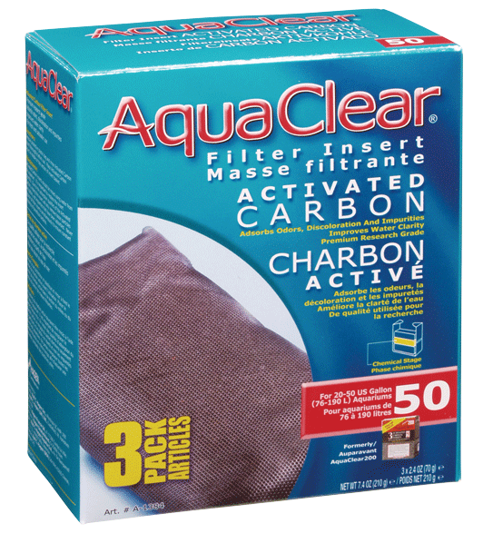 AquaClear Activated Carbon Filter Insert, Size 50, 3-pk