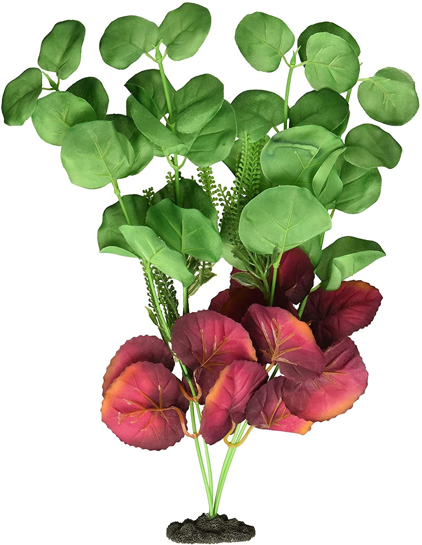 Marina Naturals Moneywort Silk Aquarium Plant, Green/Deep Red, Large