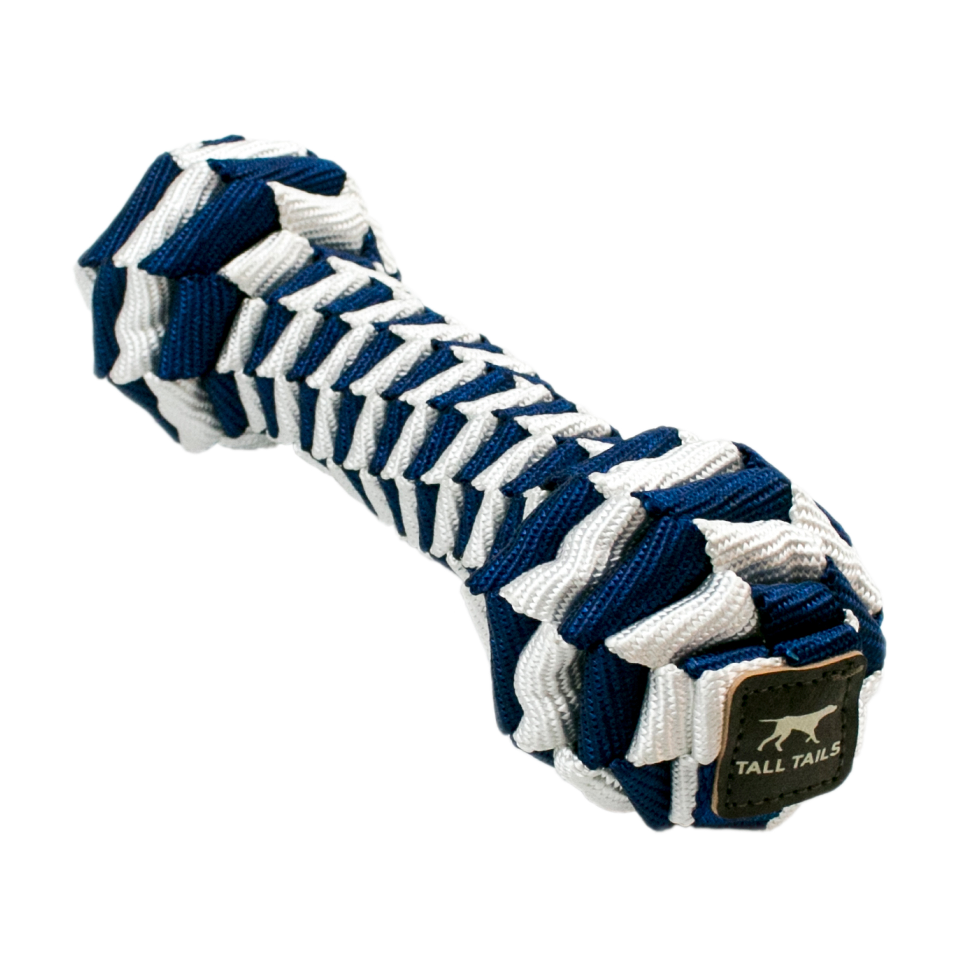 Tall Tails Navy Braided Bone Dog Toy, 9-in