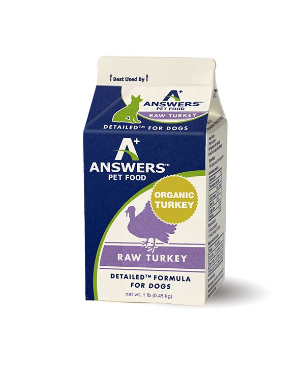 Answers Detailed Formula Raw Turkey Frozen Dog Food, 1-lb
