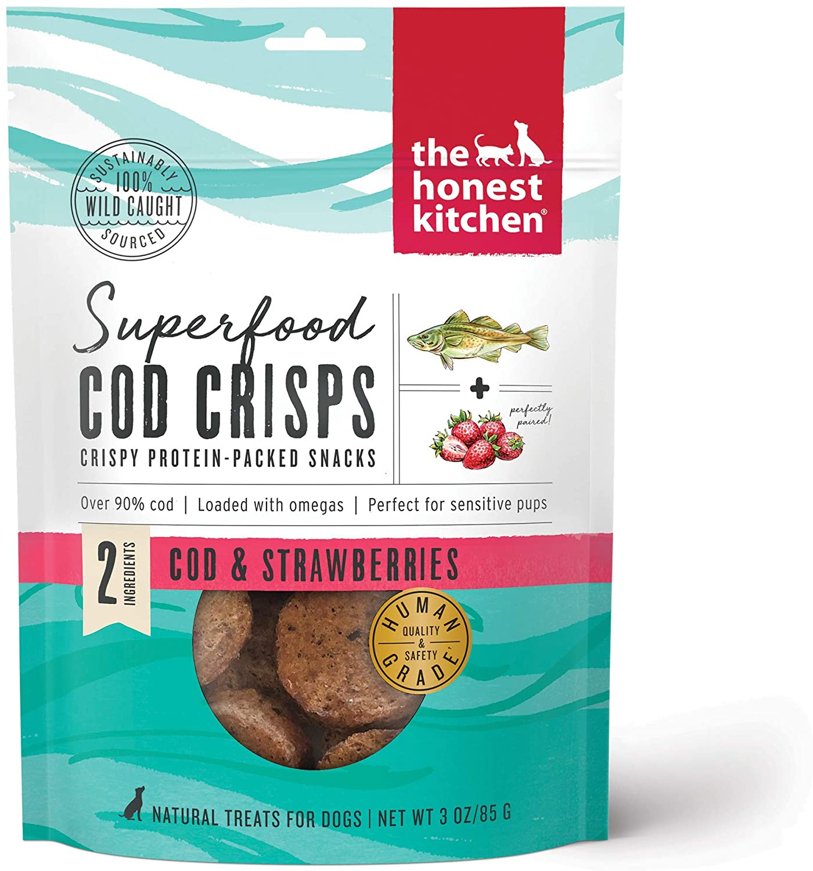 The Honest Kitchen Superfood Cod Crisps Cod & Strawberries Dog Treats, 3-oz