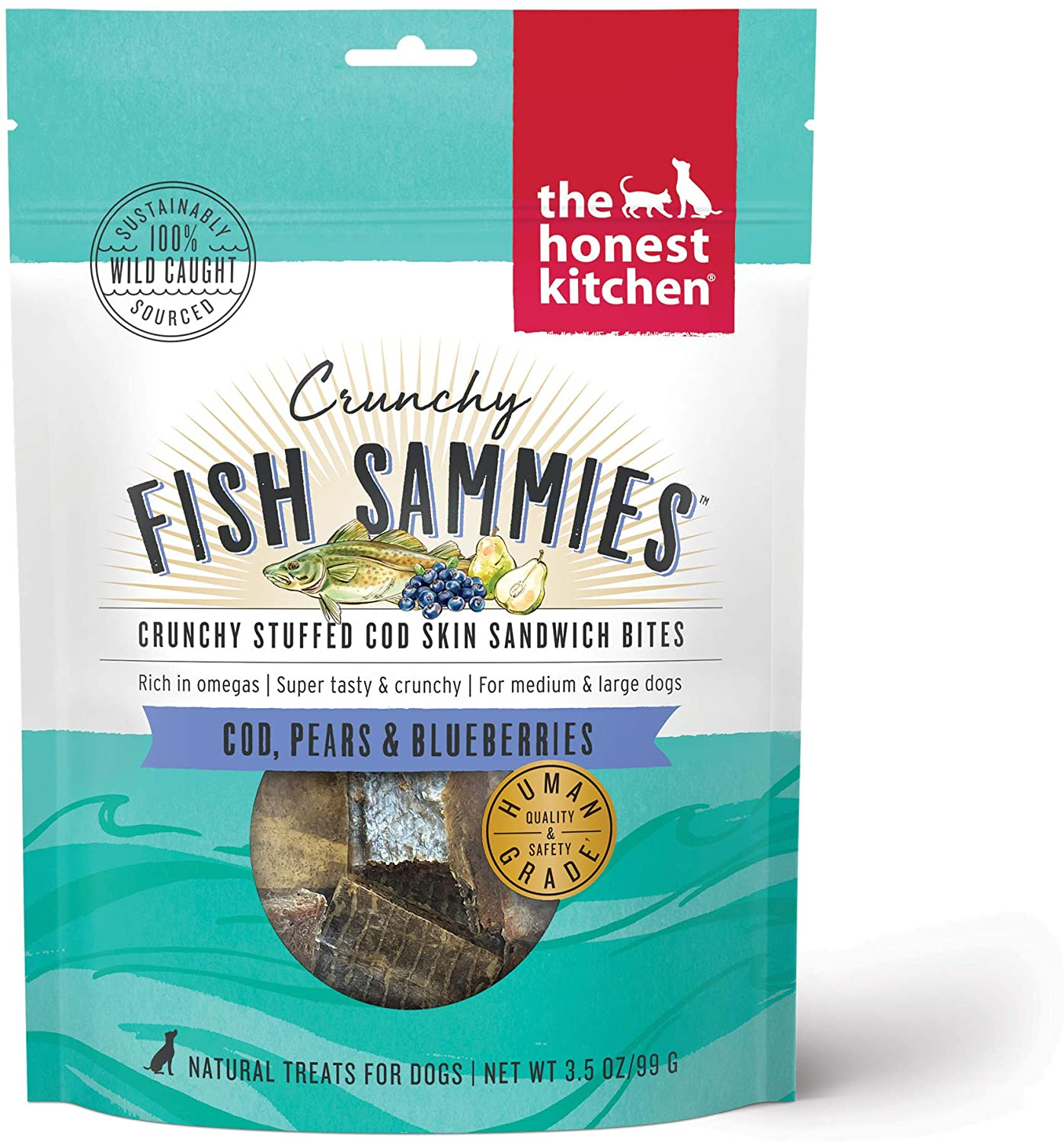 The Honest Kitchen Crunchy Fish Sammies Cod, Pears & Blueberries Dog Treats, 3.5-oz