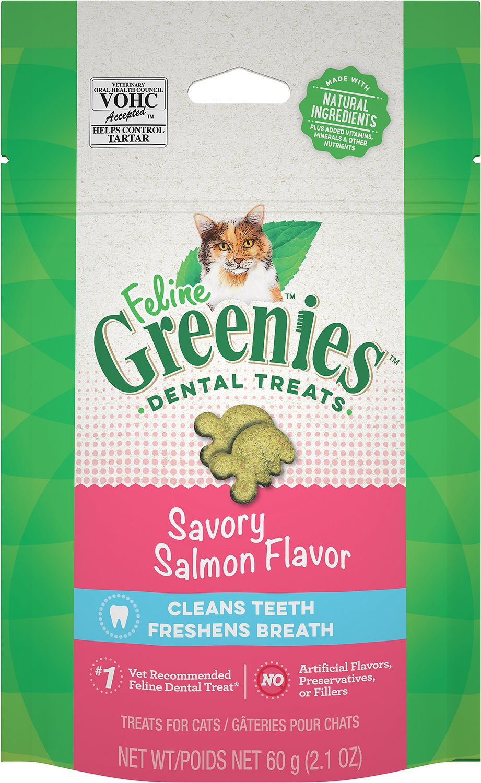 Feline Greenies Savory Salmon Flavor Dental Cat Treats, 2.1-oz bag