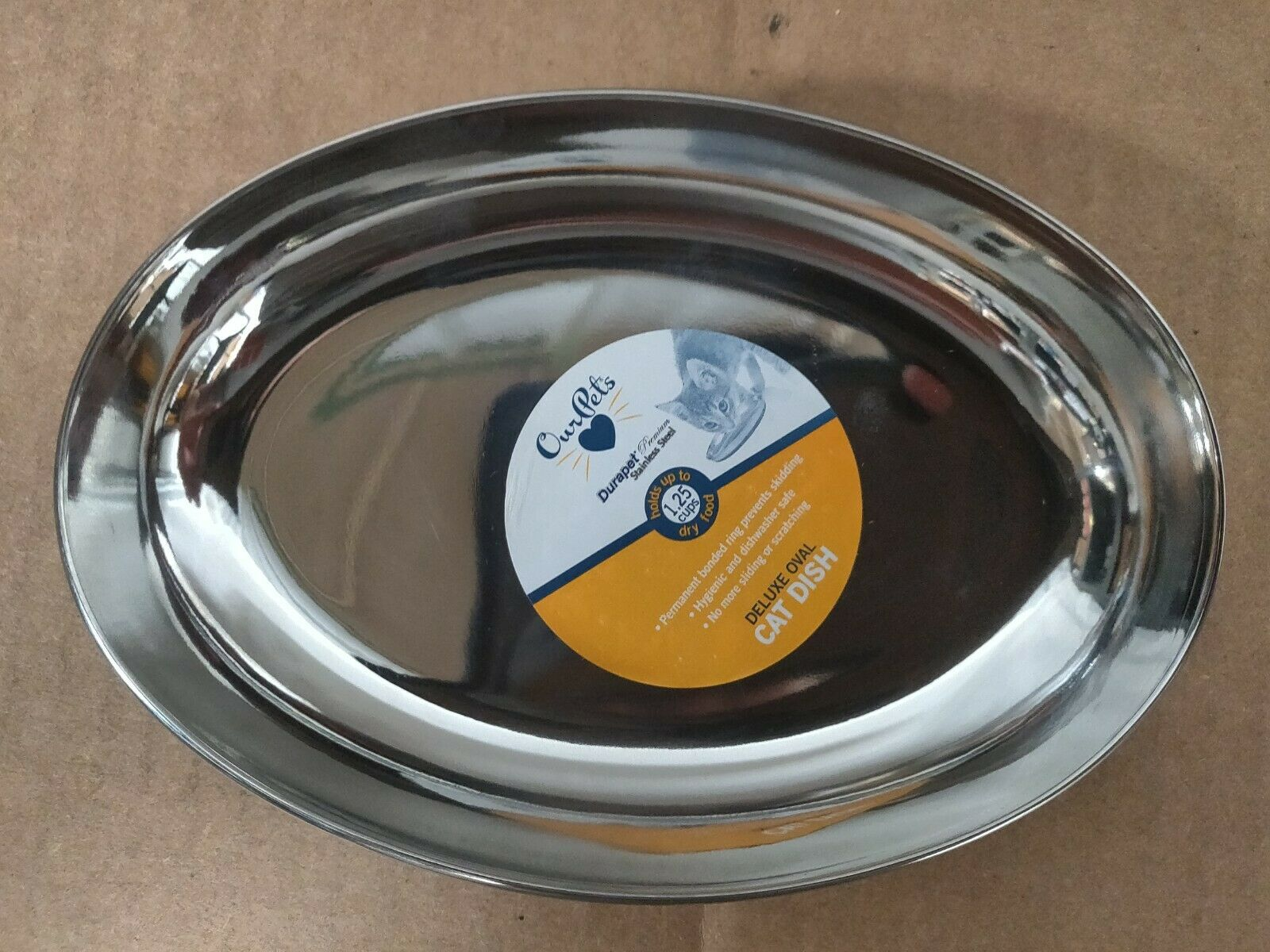 OUR PETS COMPANY Durapet Stainless Steel Deluxe Oval Cat Dish, 1.25-cups