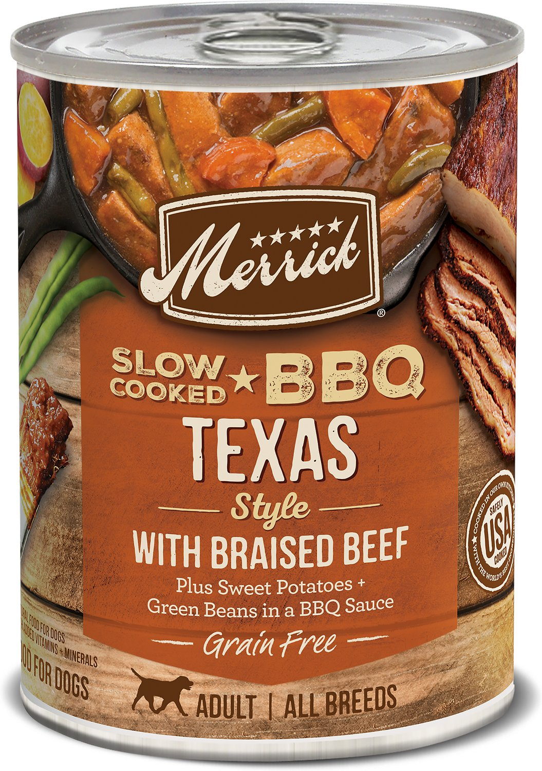 Merrick Slow-Cooked BBQ Texas Style with Braised Beef Canned Dog Food, 12.7-oz, case of 12